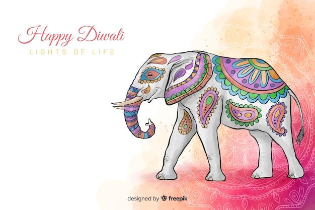 Akwareli diwali tło z pięknym kolorowym słoniem