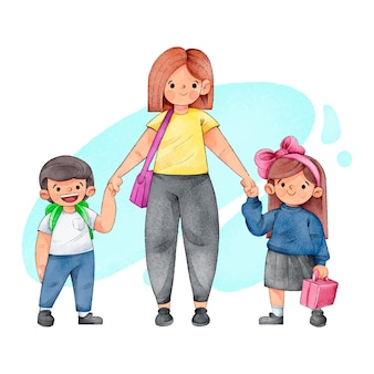 Akwareli dzieci z powrotem szkoła z rodzicami ilustracyjnymi
