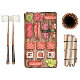 Akwareli ilustracja z suszi, drewniany talerz i kije