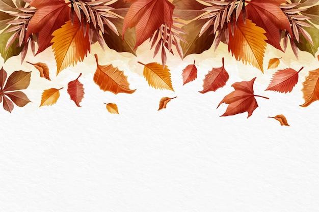 Akwareli jesieni tło z biel przestrzenią