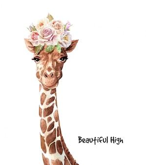 Akwareli śliczna żyrafa z bukieta kwiatem na głowie.