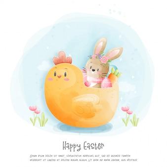 Akwareli szczęśliwa wielkanocna karta z królik ilustracją.