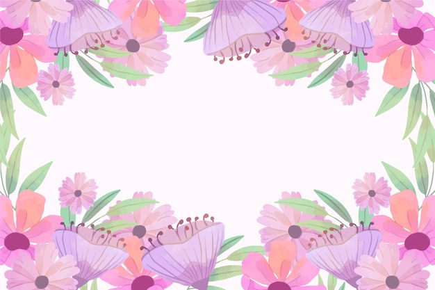 Akwareli wiosny tła różowa rama z kopii przestrzenią