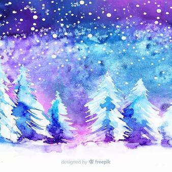Akwareli zimy tło z drzewami