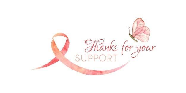 Akwarelowa ilustracja raka wspierającego miesiąc świadomości raka piersi dziękuję za wsparcie