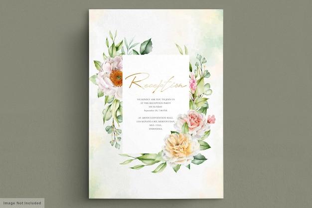 Akwarelowa karta ślubna z eleganckimi różami i piwoniami