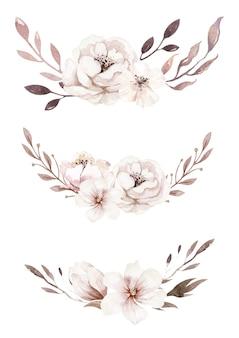 Akwarelowa kompozycja kwiatowa na zaproszenie na ślub i kartkę urodzinową boho blossom