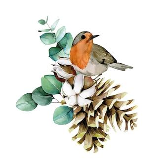Akwarelowa kompozycja świąteczna z zimowym ptaszkiem bawełnianym liśćmi eukaliptusowymi gałęziami i szyszkami jodły