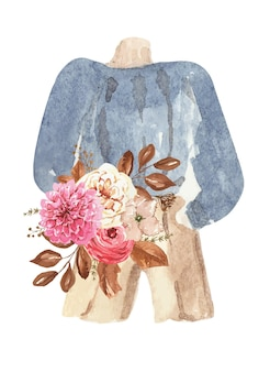 Akwarelowa naklejka na ubrania ciepła kurtka z kwiatami