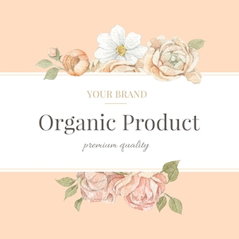 Akwarelowa ramka i obramowanie z kwiatem róży dla marki, identyfikacji wizualnej, opakowania i produktu.