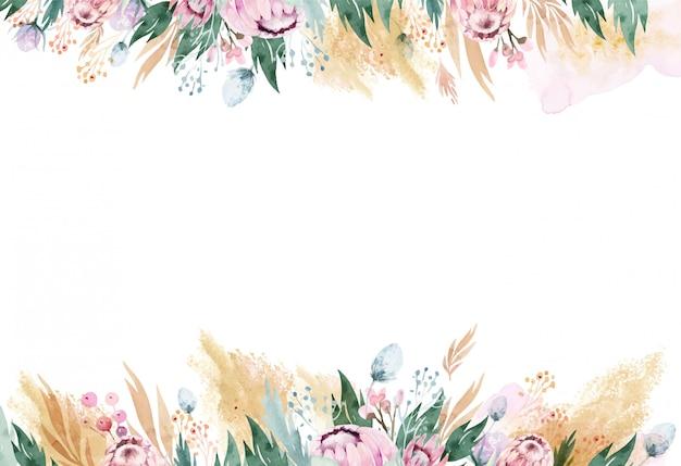 Akwarelowa ramka w kwiaty z różowymi protea i złotymi kształtami.