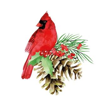 Akwarelowa świąteczna kompozycja z zimowymi czerwonymi liśćmi kardynalskimi i ostrokrzewem jagodowym gałęzią jodły