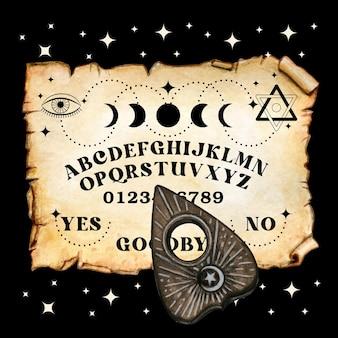 Akwarelowa tablica przewijania ouija z zaproszeniem na halloween planszety
