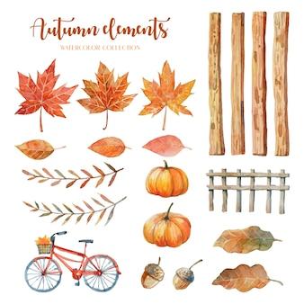 Akwarelowe elementy jesieni takie jak liść klonu, liść dębu, orzechy włoskie, dynia, panele drewniane, drewniane ogrodzenie i czerwony rower.