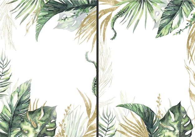 Akwarelowe letnie ramki z tropikalnymi suszonymi liśćmi palmowymi