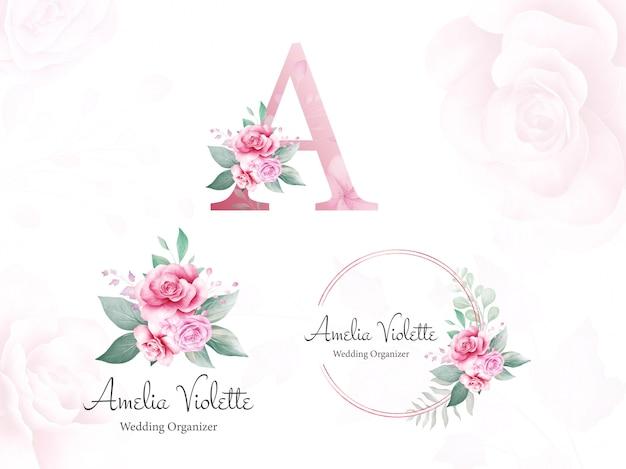 Akwarelowe logo z logo dla początkowej litery a brzoskwiniowych i fioletowych róż i liści. premade kwiatów ilustraci wektor
