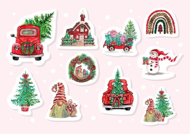 Akwarelowe naklejki świąteczne z ciężarówkami, choinką i elementami świątecznymi