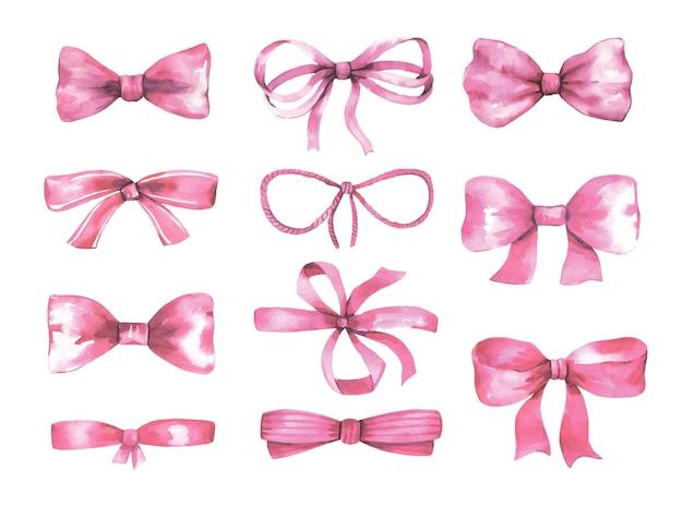 Akwarelowe różowe kokardki