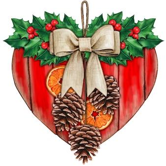 Akwarelowe rustykalne serce shabby chic z ostrokrzewem i plasterkami pomarańczy