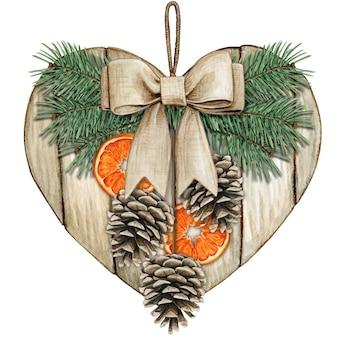 Akwarelowe rustykalne serce shabby chic z szyszką i plasterkami pomarańczy