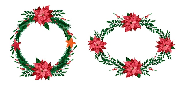 Akwarelowe wieńce bożonarodzeniowe z poinsecją i zielenią