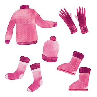Akwarelowe zimowe ubrania i niezbędne artykuły