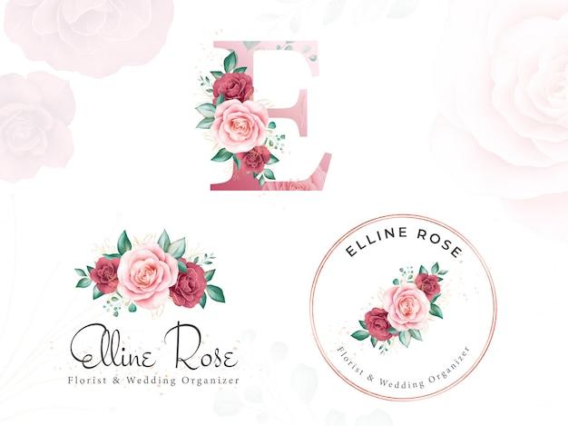 Akwarelowe złote logo z logo dla początkowej litery e róż brzoskwiniowych i liści.