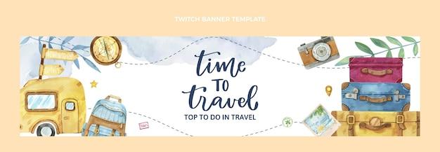 Akwarelowy baner twitch podróży
