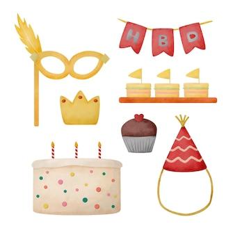 Akwarelowy obiekt o tematyce urodzinowej, pomysł na udekorowanie lokalu lub wykonanie zaproszeń. ilustracja kreskówka w stylu akwareli