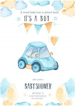 Akwarelowy prysznic chłopca z uroczą niebieską girlandą samochodową