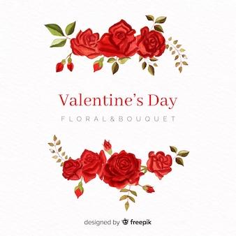 Akwarelowy różany valentine tło