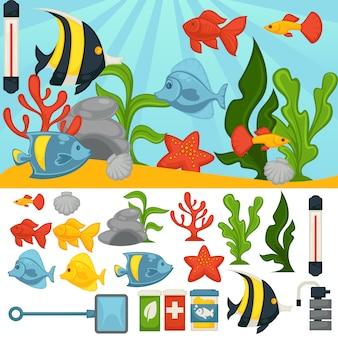 Akwarium tropikalne ryby i rośliny wektor zestaw akcesoriów