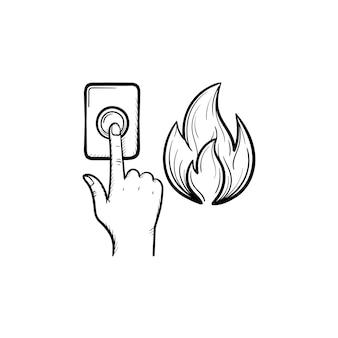 Alarm pożarowy ręcznie rysowane konspektu doodle ikona. palec naciskając przycisk alarmu przeciwpożarowego wektor szkic ilustracji do druku, sieci web, mobile i infografiki na białym tle.