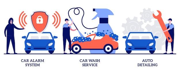 Alarm samochodowy, myjnia samochodowa, koncepcja auto detailingu z małymi ludźmi. zestaw ilustracji wektorowych usługi opieki samochodowej. antykradzieżowa, myjnia automatyczna, pełna obsługa, metafora detalowania pojazdu.