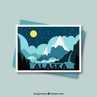 Alaska pocztówka szablon z płaska konstrukcja