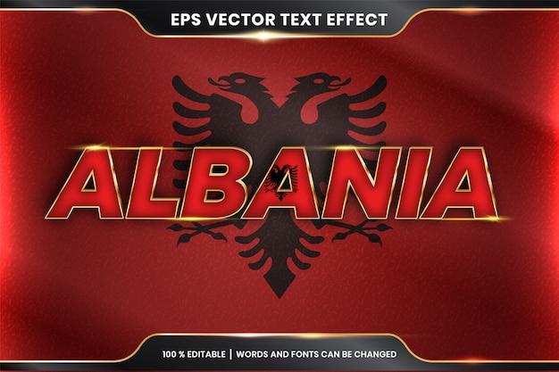 Albania z flagą narodową kraju, edytowalny styl efektu tekstu z koncepcją koloru złota