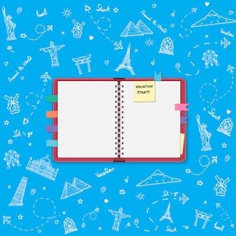 Album do scrapbookingu, notatnik z ikonami elementów podróży i akcesoriów.
