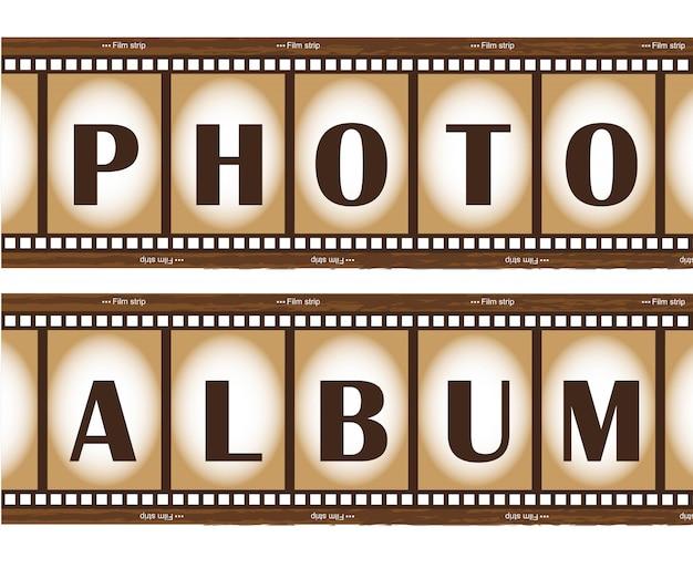 Album fotograficzny z dwoma starymi paskami filmowymi