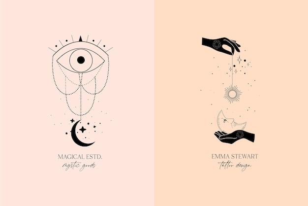 Alchemia ezoteryczna mistyczna magia niebiański talizman z kobiecymi rękami, słońcem, księżycem, złym okiem, gwiazdami świętej geometrii na białym tle