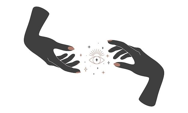 Alchemia ezoteryczny magiczny niebiański talizman z ręką kobiety z pierścieniami i świętą geometrią oka słonecznego. obiekt duchowego okultyzmu. ilustracja wektorowa
