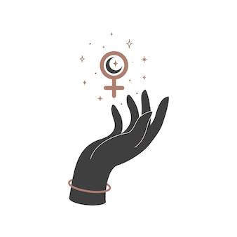 Alchemia ezoteryczny mistyczny magiczny niebiański talizman z ręką kobiety i kobiecym znakiem. obiekt duchowego okultyzmu. ilustracja wektorowa.