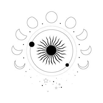 Alchemia ezoteryczny mistyczny magiczny niebiański talizman ze słońcem, fazami księżyca, gwiazdami świętej geometrii na białym tle