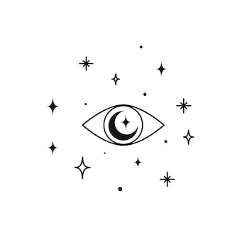 Alchemiczny ezoteryczny magiczny niebiański talizman ze świętą geometrią oka czarów. obiekt duchowego okultyzmu. ilustracja wektorowa