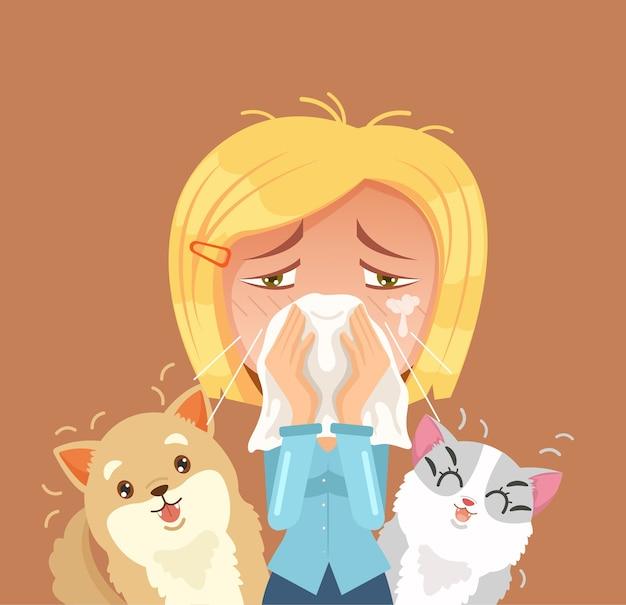 Alergia na zwierzęta domowe. kichnięcie postaci kobiety.