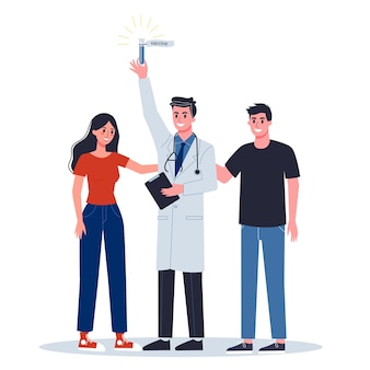 , alert koronowirusa. badania i rozwój szczepionki zapobiegawczej. lekarz posiadający wzór szczepionki.