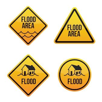 Alert obszaru powodziowego. etykiety znaków ostrzegawczych z zalanego domu. żółty samodzielnie na białym tle.