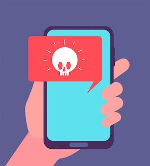 Alert wirusowy. powiadomienie o złośliwym oprogramowaniu na ekranie smartfona.