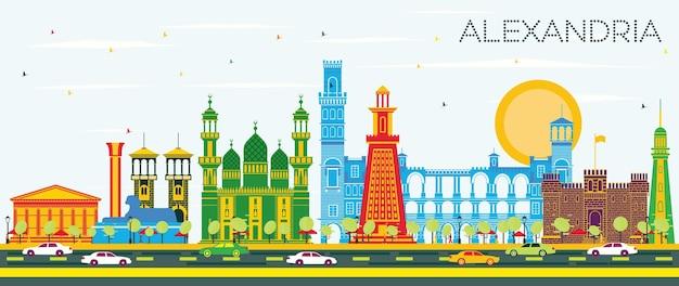 Alexandria egypt city skyline z kolorowymi budynkami i błękitnym niebem. ilustracja wektorowa. podróże służbowe i koncepcja turystyki z zabytkową architekturą. aleksandria gród z zabytkami.