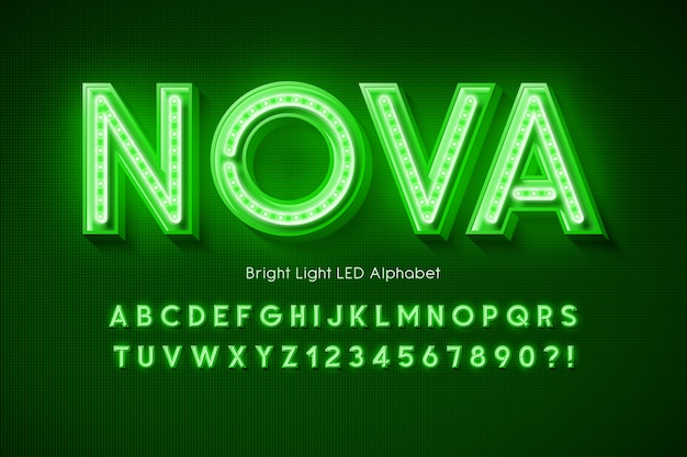 Alfabet 3d neon light, dodatkowo świecąca nowoczesna czcionka.