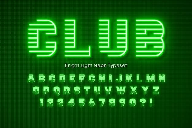 Alfabet 3d światła neonowego, dodatkowe świecące czcionki.